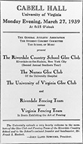 One of the 1930s extracurricular activities enjoyed by students was the Nurses' Glee Club of the University Hospital.
