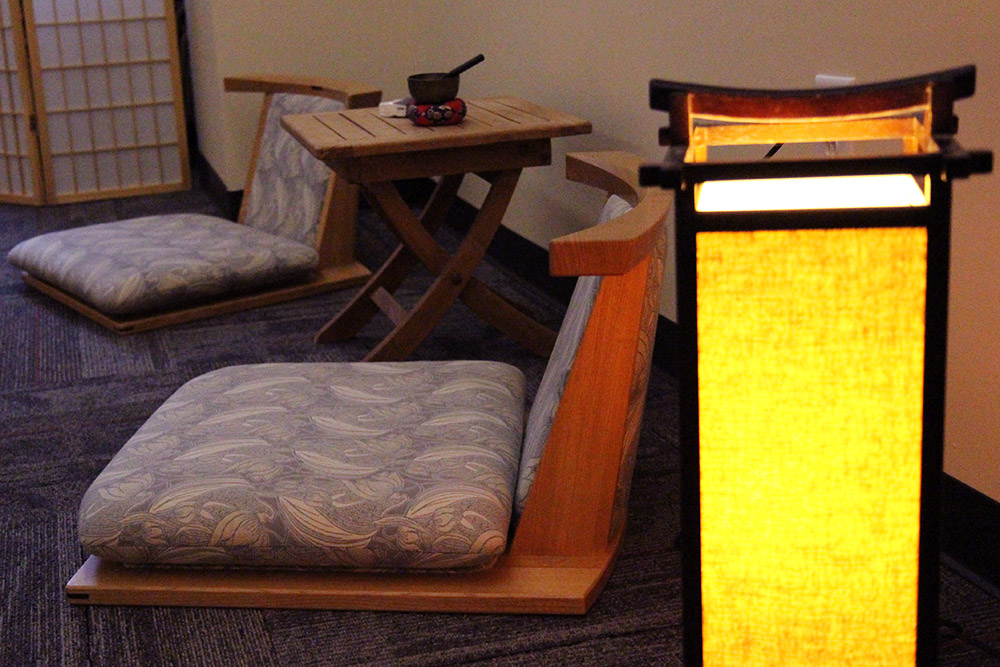The McLeod Hall meditation room where yoga, meditation, and other mindfulness activities take place.