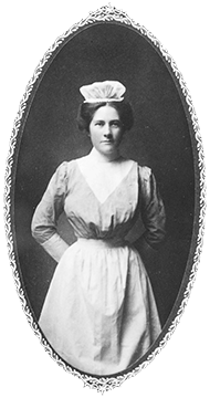 Alice Leathers (later Maddex), graduate of the first class, in her student uniform. Eleanor Crowder Bjoring Center for Nursing Historical Inquiry, University of Virginia School of Nursing.