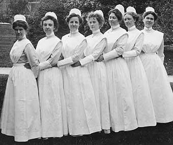 Josephine McLeod, far right, with fellow Johns Hopkins University School of Nursing students, c. 1900.	Josephine McLeod/Virginia State Board of Nursing Collection. Eleanor Crowder Bjoring Center for Nursing Historical Inquiry, University of Virginia School of Nursing.