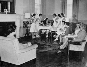Afternoon tea was a longstanding McKim Hall tradition.	School of Nursing Catalog, The Record, 1963-64.