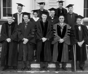Dean Margaret Tyson with the other University deans on Founder's Day, 1959.	Eleanor Crowder Bjoring Center for Nursing Historical Inquiry, University of Virginia School of Nursing. Ralph Thompson, Photographer.