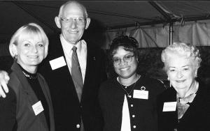 1999-2000 Roosendaal RN Scholarship winner Ramona Bratcher, an RN to BSN student (second from right), meets scholarship donor Elaine Roosendaal Kendrick (left) and her parents Al and Mary Nell.	Eleanor Crowder Bjoring Center for Nursing Historical Inquiry, University of Virginia School of Nursing.