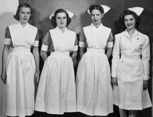 Four levels of students in 1944: probationary, second-year, third-year, and graduate nurse.	Eleanor Crowder Bjoring Center for Nursing Historical Inquiry, University of Virginia School of Nursing.
