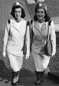 The Bishop sisters in their Cadet Nurse Corps uniform during World War II. Cadet Nurses, Albert and Shirley Small Special Collections Library, University of Virginia.