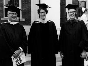 Mary M. Lohr, EdD, RN, dean from 1966-1972, at the 1968 diploma class graduation with Hospital Director John M. Stacey (left) and John Harlan, assistant vice president for Allied Health Affairs (right).	Eleanor Crowder Bjoring Center for Nursing Historical Inquiry, University of Virginia School of Nursing.