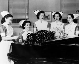 School of Nursing catalog photos depict student life in McKim Hall as friendly and social, in comfortable home-like settings	Eleanor Crowder Bjoring Center for Nursing Historical Inquiry, University of Virginia School of Nursing.