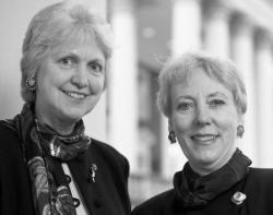 Associate Dean Doris Greiner and Dean Jeanette Lancaster.	Eleanor Crowder Bjoring Center for Nursing Historical Inquiry, University of Virginia School of Nursing.