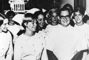 Thomas Watters, the first male U.Va. nursing student, with classmates in 1966.