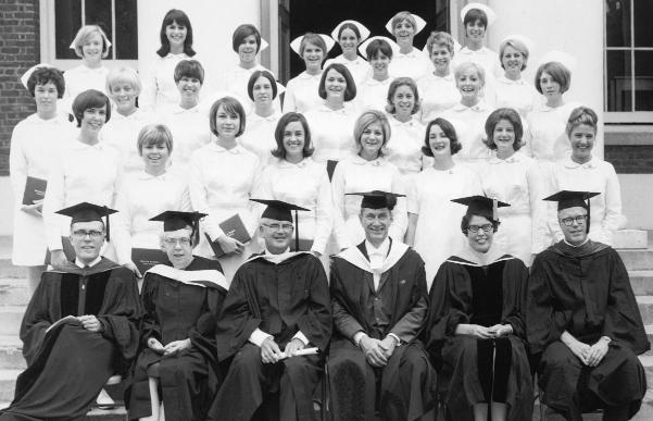 School of Nursing's last diploma graduating class, 1968.	Eleanor Crowder Bjoring Center for Nursing Historical Inquiry, University of Virginia School of Nursing.