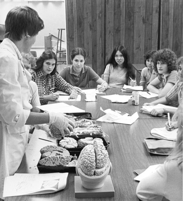 MSN students in a lab class.	Pathophysiology class instructed by Barbee Bancroft, MSN 1978. Eleanor Crowder Bjoring Center for Nursing Historical Inquiry, University of Virginia School of Nursing.