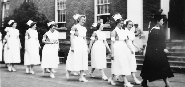 Superintendent Wangen leads the graduating students of 1939 to commencement. Ruth Repass Shaver Collection.   Eleanor Crowder Bjoring Center for Nursing Historical Inquiry, University of Virginia School of Nursing.