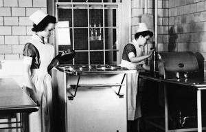 Student nurses in the hospital's new west addition kitchen, c. 1942.	Practical nursing students, Albert and Shirley Small Special Collections Library, University of Virginia.
