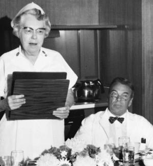 Roy Beazley, shown here with Thomas Hunter, professor of medicine and chancellor for Medical Affairs, at her 1969 farewell luncheon. Miss Beazley ended a distinguished U.Va. career by being named professor emeritus.	Eleanor Crowder Bjoring Center for Nursing Historical Inquiry, University of Virginia School of Nursing. Ralph Thompson, Photographer.