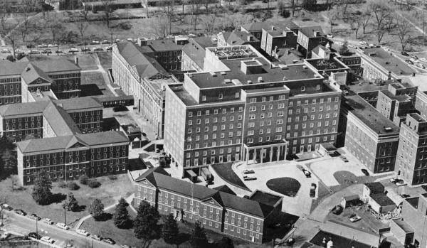 The new U.Va. Hospital, 1961.	Courtesy of Historical Collections & Services, Claude Moore Health Sciences Library, University of Virginia.